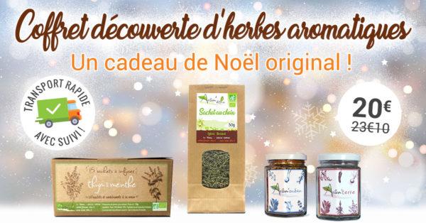 coffret cadeau de Noël d'herbes aromatiques bio